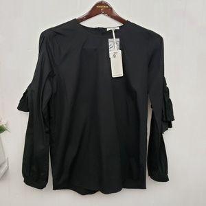 Anthropologie Pelonie Black Long Cut out sleeve S